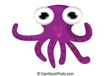 tecknad film, bläckfisk, söt