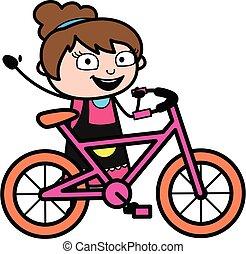 tecknad film, cykel, kosmetolog