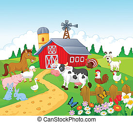 tecknad film, djur, bakgrund, lantgård