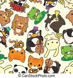 tecknad film, djur, musicera, seamless, mönster