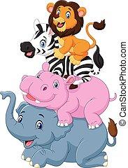 tecknad film, djur, rolig, stående