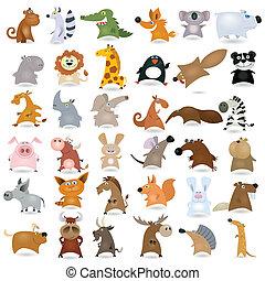 tecknad film, djur, stor