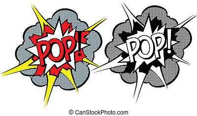 tecknad film, explosion, pop-art, stil