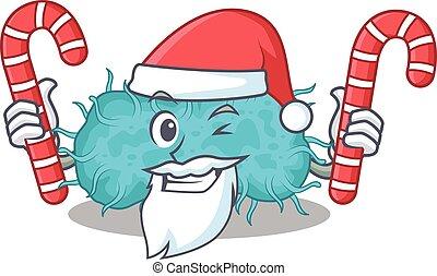 tecknad film, fästen, bakterie, tecken, jul, candies, ...