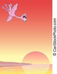 tecknad film, flamingo, med, solglasögon