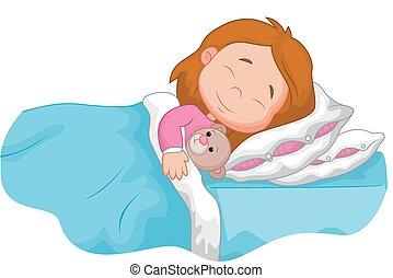 tecknad film, flicka, sova, med, kvav