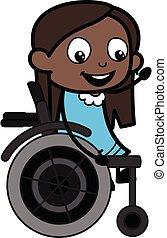 tecknad film, flicka, svart, stol, hjul