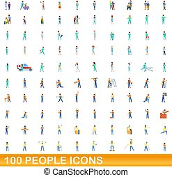 tecknad film, folk, 100, sätta, ikonen, stil