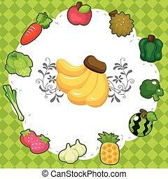 tecknad film, frukt, kort