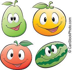 tecknad film, frukt