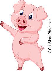 tecknad film, gris, söt, presenterande