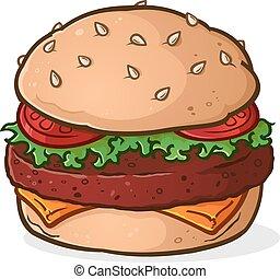 tecknad film, hamburgare, stor, saftig
