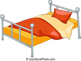 tecknad film, hem, möblemang, säng