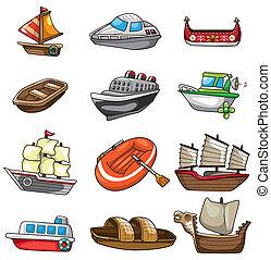 tecknad film, ikon, båt