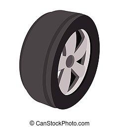 tecknad film, illustration, hjul