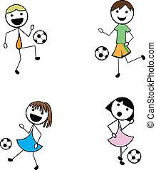 tecknad film, käpp, barn, aktiv, fotboll