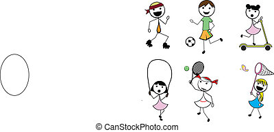 tecknad film, käpp, barn, aktiv, sports