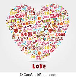 tecknad film, kärlek, kort