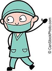 tecknad film, kirurg, hej, ordstäv