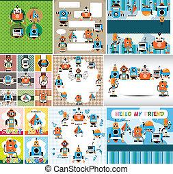 tecknad film, kort, robot