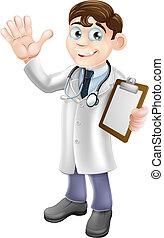 tecknad film, läkare, hållande skrivplatta