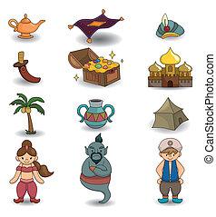 tecknad film, lampa, av, aladdin, ikon