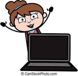 tecknad film, laptop, kosmetolog
