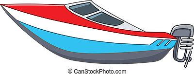 tecknad film, motorbåt