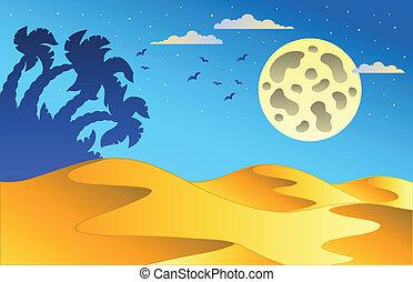 tecknad film, natt, öken landskap