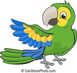 tecknad film, papegoja, maskot