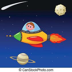 tecknad film, pojke, astronaut, in, den, utrymmen