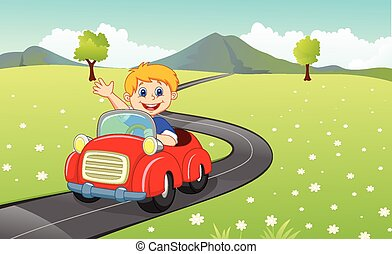 tecknad film, pojke, driva en bil