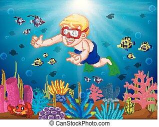 tecknad film, pojke, dykning, den, hav