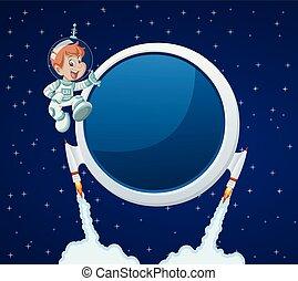 tecknad film, pojke, in, den, space.