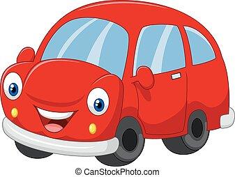tecknad film, röd bil