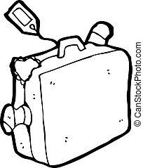 tecknad film, resväska