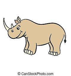 tecknad film, rhino., illustration, vektor