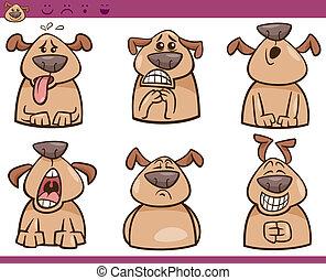 tecknad film, sätta, hund, illustration, sinnesrörelser