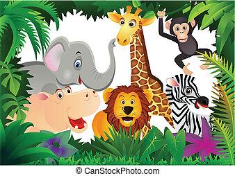 tecknad film, safari