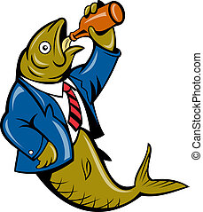 tecknad film, sill, fish, drickande, öl
