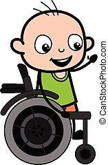 tecknad film, skallig, stol, hjul, pojke