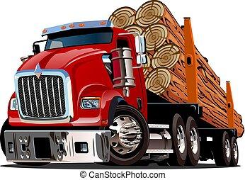 tecknad film, skogsavverkning transportera