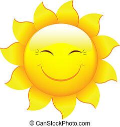 tecknad film, sol