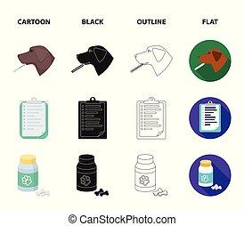 tecknad film, termometer, stil, symbol, sätta, sjukhus, vektor, hund, lägenhet, veterinär, block, web., skissera, ikonen, klinik, svart, illustration, kollektion, .vet