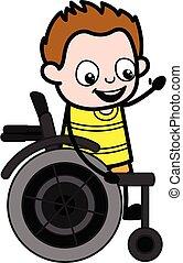 tecknad film, ung, stol, hjul, pojke