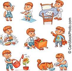tecknad film, unge, dagligen rutin, aktiviteter, sätta