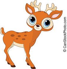 tecknad film, vacker, hjort
