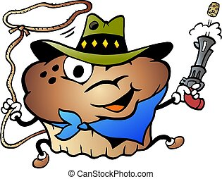 tecknad film, vektor, cowboy, illustration, muffin