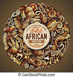 tecknad film, vektor, doodles, afrika, illustration