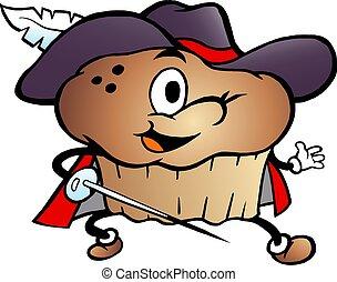 tecknad film, vektor, musketör, illustration, muffin